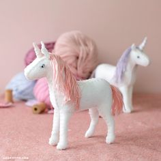 Our unicorns are back with this adorable felt unicorn project. You can create your own with our felt unicorn diy tutorial here. Easy Felt Crafts, Felt Diy, Diy Arts And Crafts, Kids Crafts, Needle Felted Animals, Felt Animals, Unicorn Stuffed Animal, Stuffed Animals, Unicorn Doll
