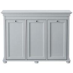 Home Decorators Collection Hampton Harbor 37 In Triple Tilt Out Hamper Dove Grey Laundry SorterLaundry