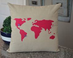 World Map Custom Pillow Cover 18 x 18 Pillow Cover Great