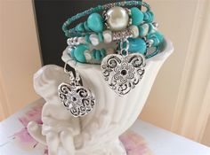Bracelet and earring set. Turquoise colour tones wrap around bracelets available