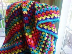 Bright Multicolor Crochet Granny Square Blanket by joycebuckley