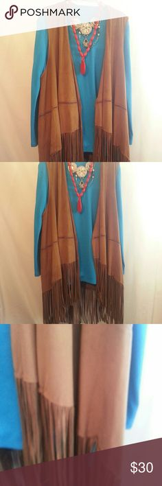 Boho/festival fringe vest Fringe vest made of soft lightweight fabric similar to a matte velour(??)  A bit more brown than pictured.  Front opening is a slight 'cascade' , loose cut. Fringe all around. Wear with shorts for a fun boho look.  EUC. Jackets & Coats Vests