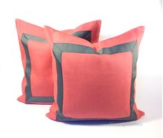 Coral Linen Pillow Cover with Gray Grosgrain by NoraQuinonez #pillows