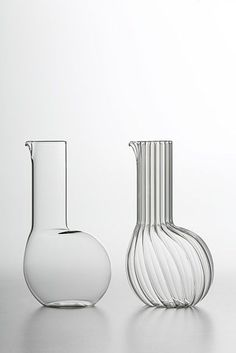 """""""Luxury involves objects that last in time and that maintain a timeless elegance and value"""" - MATTEO CIBIC - (""""Dudù"""" long smooth and ribbed blown-glass carafe designed by Matteo Cibic)"""