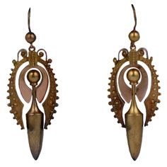 Victorian urn earrings with etruscan work rendered in 2 tones of gold. In original condition with period ear wires. circa 1880s USA.