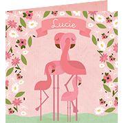 www.hetuilennestje.nl  geboortekaartje Lucie Sjoukje Luciënne: Geboortekaartje, Flamingo, Flamingo's, Illustratief, dieren, landschap, roze, groen, wolken, bloemen, meisje.