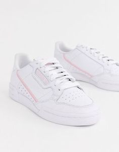 adidas Originals white and pink Continental 80 sneakers - Shoes My obsession - Zapatos de Mujer Sneakers Mode, Baby Sneakers, White Sneakers, Sneakers Fashion, Fashion Shoes, Sneakers Adidas, Fashion 2017, Fashion Outfits, Fashion Trends