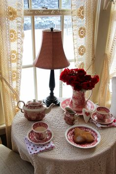 ❤ We have lots and lots of snow here in Ottawa.so that calls for many cups of tea in my house! ❄❤❄ I hope you have a wonderful week! ❤ (Shared from Aiken House & Gardens) ❤❄❤❄❤❄❤❄❤❄❤❄❤ Red Cottage, Cottage Living, Afternoon Tea Parties, Inspiration Design, Tea Service, My Cup Of Tea, Tea Time, Coffee Time, Coffee Room