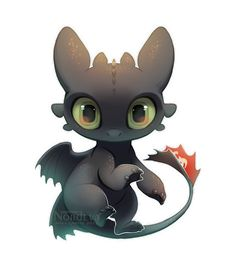 Chibi Toothless by Nordeva on DeviantArt Cute Toothless, Toothless Drawing, Toothless And Stitch, Toothless Tattoo, Cute Animal Drawings, Kawaii Drawings, Disney Drawings, How To Train Dragon, How To Train Your