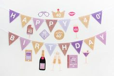 40th Birthday 1977 - Wisteria, 40th Photo Booth Props Party Printable | INSTANT DOWNLOAD