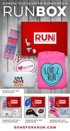 Celebrate Valentine's Day with fun running gifts. Your runner Valentine will love our RUNBOX gift sets. Packaged in a red box for an ideal way to give a gift to your running Valentine.