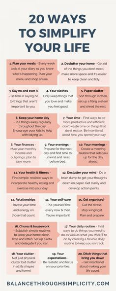 20 ways to simplify your life – Balance Through Simplicity – Health Life Life Skills, Life Lessons, How To Better Yourself, Improve Yourself, Vie Simple, Vie Motivation, Self Care Activities, Self Improvement Tips, Good Habits