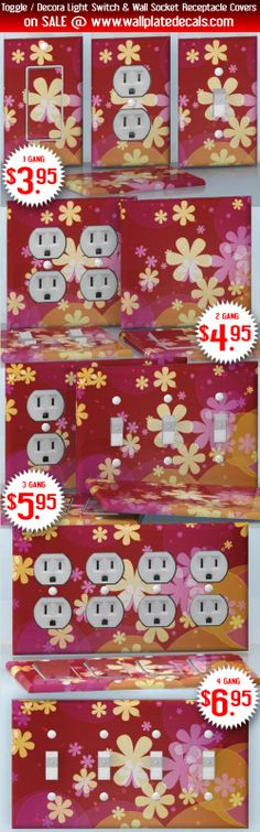 DIY Do It Yourself Home Decor - Easy to apply wall plate wraps | Daisy Fall  Yellow blossoms  wallplate skin stickers for single, double, triple and quadruple Toggle and Decora Light Switches, Wall Socket Duplex Receptacles, and blank decals without inside cuts for special outlets | On SALE now only $3.95 - $6.95