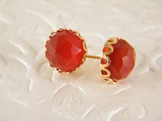 Carnelian gold earringsStud earringsOrange gem by sherijewelry