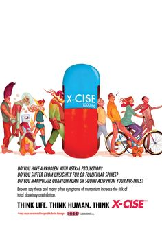 X-MEN LEGACY #10 cover. Mike Del Mundo brilliantly designs a faux ad for X-Cise, a pill that will get rid of mutantism,