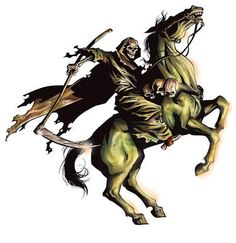 4th horse of the apocalypse- biblical symbol: Rev 6:8. Death is the name of the one seated on the pale horse who symbolized death or sickness. He wields a long sword that kills with plague, the elements, and the beasts of the earth.