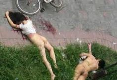 A Chinese couple were having sex against their largebay living room window when the window gave out from behind them causing them to fall 5 stories onto the concrete below.   They both sustained extensive and serious internal damage which lead to their deaths. A bike was parked at the bottom of the apartment complex breaking their fall and a bunch of bones, too!