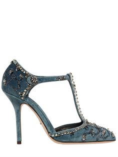 DOLCE & GABBANA 105MM EMBELLISHED VELVET T-STRAP PUMPS | Closet On The Go