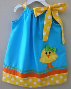 Cute Easter Chick Pillowcase dress.....know of 2 little girls who would love this.