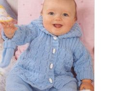 Baby Knitting PATTERN  Hooded Jacket and Trousers  DK  14