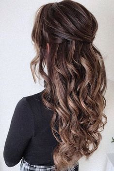 Women Hairstyles Popular Haircuts 30 Stunning Wedding Hairstyles Every Hair Length wedding hairstyles every hair length half up half down with relaxed curls on long hair pearly. Wedding Hair Half, Bridal Hair Vine, Wedding Hair And Makeup, Wedding Bride, Wedding Hair Brunette, Long Hair Wedding Styles, Boho Wedding, Ball Hairstyles, Down Hairstyles