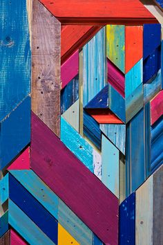 Anthropologie window display - So much coloured timber placed beautifully, inspiration for a feature wall?