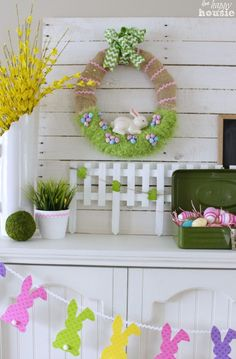 Easter Bunny in the Grass Spring Wreath for our Easter Mantel {Get Your DIY On!!} - The Happy Housie