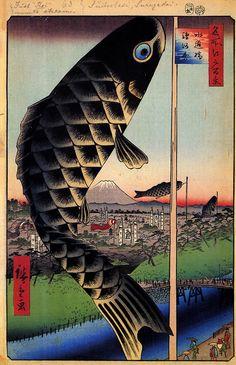 Ando Hiroshige: Suido Bridge and Suruga Hil (1856-1858) from 100 Views of Edo, woodblock print, Japan