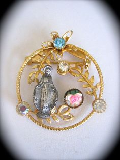Stunning Vintage Sparkly 50s VIRGIN MARY  Brooch by VINTAGELOURDES, $24.00