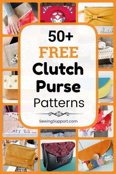 Clutch Purse Patterns to sew. Over 50 free clutch purse patterns, tutorials, and diy sewing projects, including envelope styles and more formal evening clutches. Diy Sewing Projects, Sewing Hacks, Sewing Tutorials, Bag Tutorials, Sewing Tips, Sewing Ideas, Diy Clutch, Clutch Purse, Coin Purse