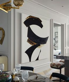 Black white and gold wall art