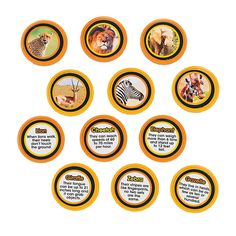 """48 African Animal Trading Coins. Use them for games or rewards. Each coin features an animal on one side and a fact on the other. Assorted. Plastic. 1 1/2"""" © OTC"""