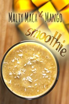 Malty maca and mango smoothie (150ml milk = 3/4 cup or so) (breakfast wednesday)