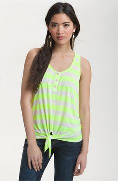 Robin K Tie Front Stripe Tank (Juniors) available at Nordstrom