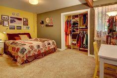 Contemporary Master Bedroom with Exposed beam, Carpet, flush light, Built-in bookshelf Interior, Home, Bookshelves Built In, Small Apartments, Home Improvement, Contemporary, Master Bedroom, Inspiration, Bedroom