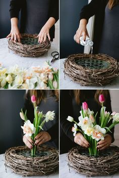 A Spring Nest Centerpiece for Mother's Day with tulips and daffodils DIY tutorial Aranžované Kvety, Visiace Koše, Tulipány, Nápady Na Výzdobu Stola Easter Flower Arrangements, Easter Flowers, Diy Flowers, Spring Flowers, Flower Decorations, Floral Arrangements, Centerpiece Flowers, Table Centerpieces, Tulips Flowers