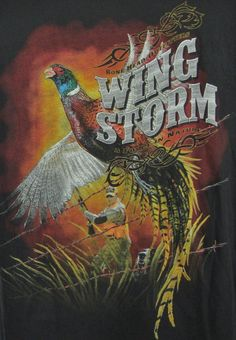 Bonehead Outfitters Wing Storm Pheasant Hunter Dog Graphic T-shirt Large L Black…