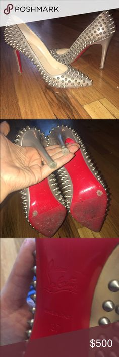 Louboutin Spikes Authentic. Grip soles added. Comes with dust bags. Some wear on heels but other than that excellent condition. Christian Louboutin Shoes