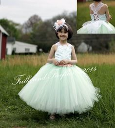 Mint Flower Girl Vintage Lace Corset Dress-Lace Shabby Chic Corset Halter Dress-Tutu Dress- Size 1t, 2t, 3t, 4t, 5t, 6, 7, 8, 10 or 12 by FrillsandFireflies on Etsy