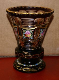 Black Bohemian Cut Glass Vase Czechoslovakia