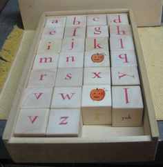 Children's Learning Wooden Alphabet and Picture Blocks in Wooden Box by VintageWoodsWitch on Etsy