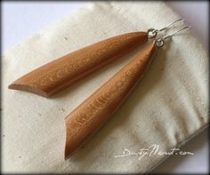 Wood Earrings ~ Cherry  Bow Style  by DustyNewt on Etsy