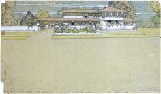 """Frank Lloyd Wright's typical perspectives, a 635x381 mm watercolour, depicting one of his first Prairie houses, dated 1900 The composition locates the drawing at the extreme upper part, so that the empty space at the bottom limit of the paper sheet  ending in a title - Design for """"Prairie House Ladies Home Journal"""" 1900- calls our attention. The drawing was made to be published in the Ladies Home Journal magazine, in the February of 1901 issue, in an article entitled """"A Home in a…"""