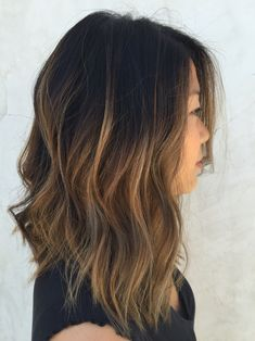 textured lob// caramel ombre I like the shorter bit at the back slightly