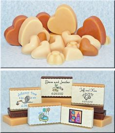 """Custom goat milk soap favors for your special occasion. We can create a variety of shapes as well as """"Hotel size"""" bars (or even full size bars for you big spenders) with personalized labels to make your special event even more special."""