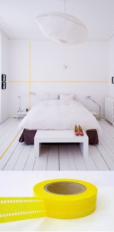 Instant Washi-Tape Wall Graphics just a detail like that could make a difference Home Bedroom, Modern Bedroom, Bedroom Decor, Bedrooms, Wall Decor, Diy Wall, Contemporary Bedroom, Wall Art, Wall Mural