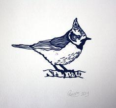 "Original Linocut. Bird Print. Lino Print Wall Art. Midnight Blue 8 x 8"" Print. Linoleum Print."