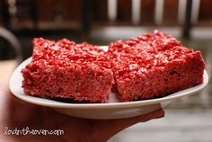 Red Velvet Rice Krispie Treats - so good!  The cake mix cuts down on the sweetness, and they are crunchier.  Did not add the sprinkles.