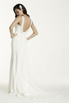 Crepe Halter Sheath Gown with Draped Back SRL674