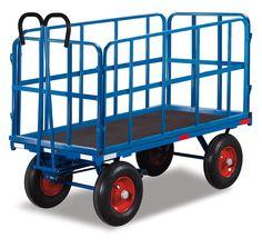 GTARDO.DE:  Handpritschenwagen, 4 Stahlrohrgitterwände, Tragkraft 700 kg, Ladefläche 1130x730 mm, Maße 1400x840x1160 mm, Rad L260x85 mm 663,00 €